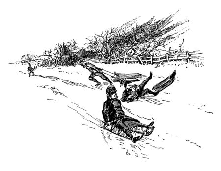 Beautiful scene where small kids are enjoying and riding sled. Some are sitting and some could not control balance and fell down, vintage line drawing or engraving illustration. Иллюстрация