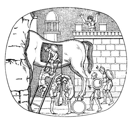 This image has a bigger mansion. That's a big wooden horse in upon the mansions. The wooden horses are descending down the soldiers, vintage line drawing or engraving illustration.