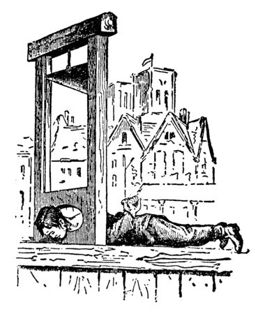 The prisoner is tied to the throat cut tool and is punished for punishment, vintage line drawing or engraving illustration. Stock Illustratie