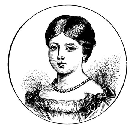 Alexandria Victoria, 1819-1901, she was the queen of the United Kingdom of Great Britain and Ireland from 1837 to 1901, vintage line drawing or engraving illustration