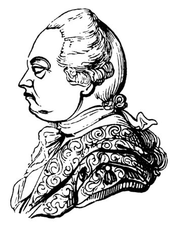 Frederic, Lord North, Earl of Guilford, 1732-1792, he was prime minister of Great Britain from 1770 to 1782, vintage line drawing or engraving illustration