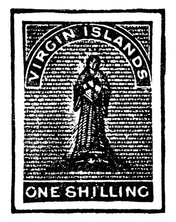 This illustration represents Virgin Islands One Shilling Stamp in 1867, vintage line drawing or engraving illustration.