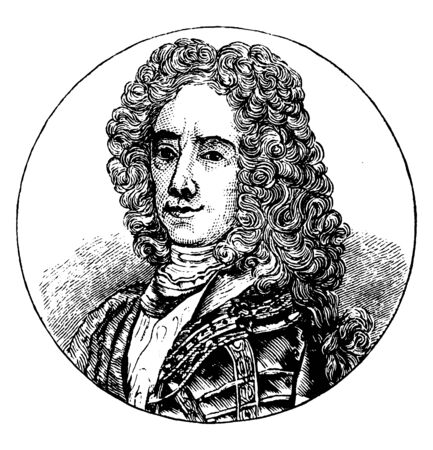 Prince Eugene, 1663-1763, he was a general of the Imperial army and statesman of the Holy Roman Empire and the Archduchy of Austria, vintage line drawing or engraving illustration