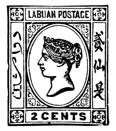 This image represents Labuan 2 Cents Stamp in 1879, vintage line drawing or engraving illustration. Reklamní fotografie - 133432948