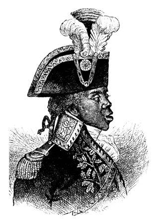 Toussaint, 1743-1803, il était le chef de la révolution haïtienne et président d'Haïti, dessin de ligne vintage ou illustration de gravure