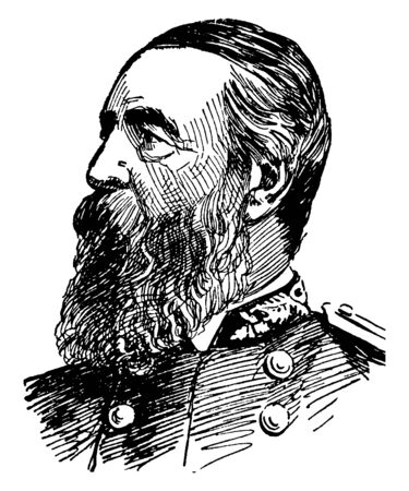 Admiral David Dixon Porter, 1813-1891, he was a United States Navy admiral and a member of one of the most distinguished families in the history of the U.S. Navy, vintage line drawing or engraving illustration