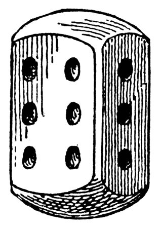 This is a small dice marked on its faces with spots numbering from one to six, used in gaming from being thrown from a box or hand, vintage line drawing or engraving illustration. Illusztráció
