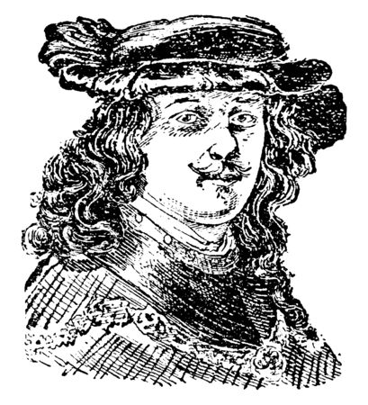 Rembrandt Van Rhyn, 1606-1669, he was a Dutch draughtsman, painter, and printmaker, vintage line drawing or engraving illustration