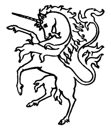 An image of a Unicorn, Which is a horse like creature having a single straight horn on its forehead, vintage line drawing or engraving illustration.