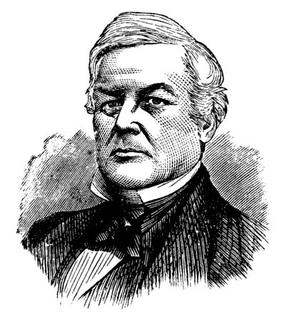 Millard Fillmore, 1800-1874, he was the thirteenth president of the United States from 1850 to 1853, member of the Whig party, and former U.S. Representative from New York, vintage line drawing or engraving illustration Çizim