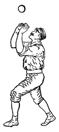 An outfielder trying to catch a ball, vintage line drawing or engraving illustration.