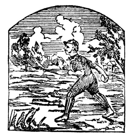 Boy is throwing a ball, vintage line drawing or engraving illustration. Illusztráció