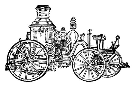 A machine designed to throw water for the purpose of extinguishing fires, vintage line drawing or engraving illustration.