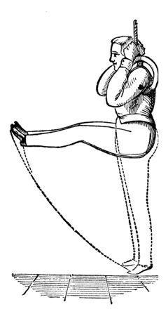 Boy exercising on ring by holding it with hands and keeping legs straight in parallel position in air. Recreate the same, vintage line drawing or engraving illustration.