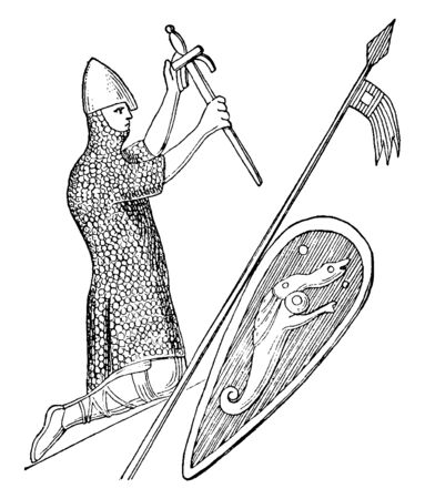 William the Conqueror, c. 1028-1087, he was the first Norman king of England, vintage line drawing or engraving illustration