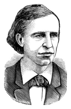 David Swing, 1830-1894, he was a United States teacher and clergyman, vintage line drawing or engraving illustration