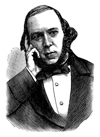 Herbert Spencer, 1820-1903, he was an English philosopher, biologist, anthropologist, sociologist, and prominent classical liberal political theorist of the Victorian era, vintage line drawing or engraving illustration