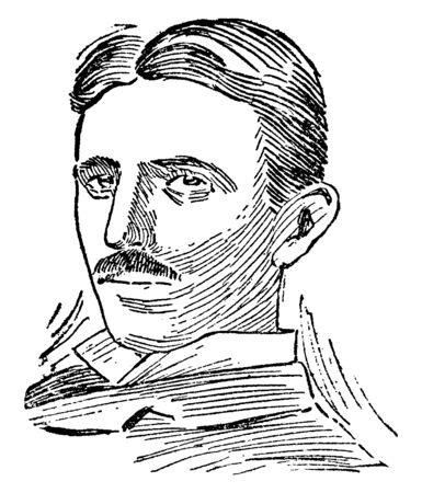Nikola Tesla, 1856-1943, he was an inventor, electrical engineer, mechanical engineer, and physicist, vintage line drawing or engraving illustration Illustration
