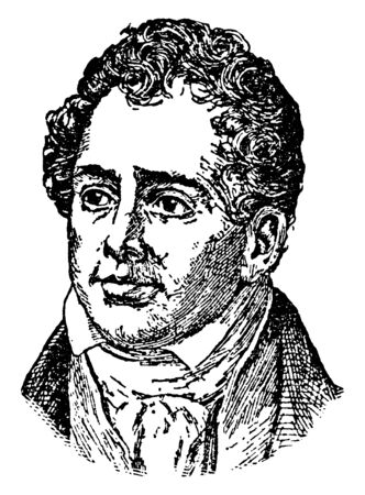 Thomas Moore, 1779-1852, he was an Irish poet, singer, songwriter, and entertainer, famous for the lyrics of The Minstrel Boy and The Last Rose of Summer, vintage line drawing or engraving illustration