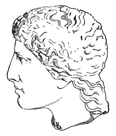 This is the picture of Hera. She was the daughter of Cronus and Rhea, vintage line drawing or engraving illustration.
