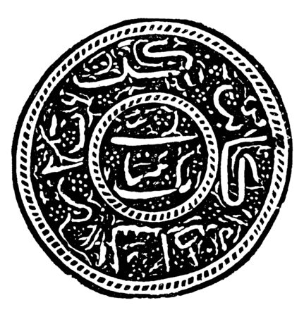 This illustration represents Afghanistan Stamp Unknown Value from 1881 to 1886, vintage line drawing or engraving illustration.