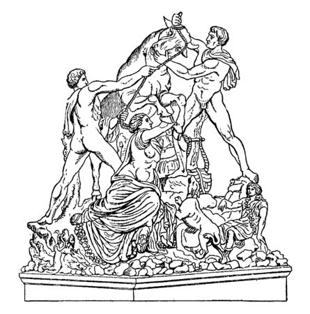 In this image a statue for a man & bull they are & the man control the bull, vintage line drawing or engraving illustration.