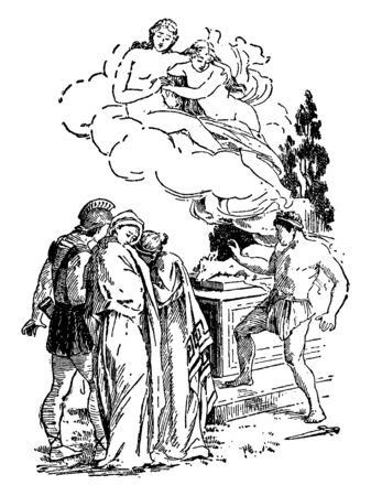 When she was about to be slain at the altar, Artemis intervened and carried her off in a cloud to be priestess of her temple in Tauris (the Crimea), while a stag was substituted in the sacrifice, vintage line drawing or engraving illustration. Illustration