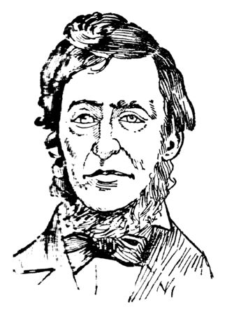 Henry Thoreau, 1817-1862, he was an American essayist, poet, philosopher, abolitionist, naturalist, tax resister, and historian, vintage line drawing or engraving illustration