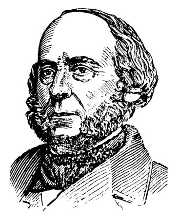 John Ericsson, 1803-1889, he was a Swedish-American inventor and mechanical engineer who invented the screw propeller, famous as one of the most influential mechanical engineers ever, vintage line drawing or engraving illustration Illustration