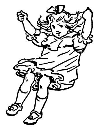 It looks like a little girl is swinging, vintage line drawing or engraving illustration. Ilustrace