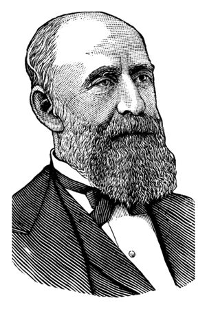 George F Edmunds, 1828-1919, he was a republican U.S. senator from Vermont, speaker of the Vermont house of representatives, vintage line drawing or engraving illustration Illustration