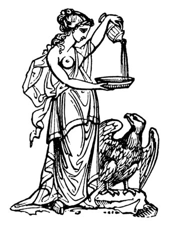 This is beautiful picture of the Greek goddess along with the eagle. In Greek mythology, she is believed to be known as Hebe, the cupbearer for the gods, vintage line drawing or engraving illustration. Banque d'images - 133043212