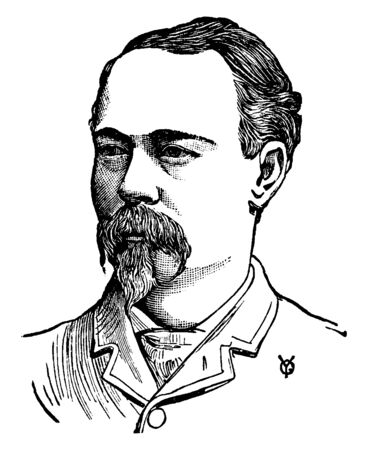 George Peck, he was editor and proprietor of Pecks Sun, vintage line drawing or engraving illustration