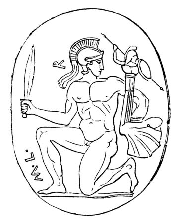 In this image the an ancient gem, represents Diomede in the act of bearing away the Palladium, vintage line drawing or engraving illustration.