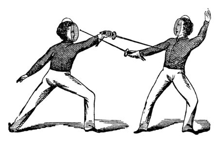 Fencing game where players swords are touching each other arms, vintage line drawing or engraving illustration.