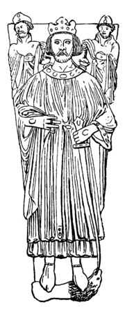 King John, 1166-1216, he was the king of England from 1199 to 1216, vintage line drawing or engraving illustration Иллюстрация