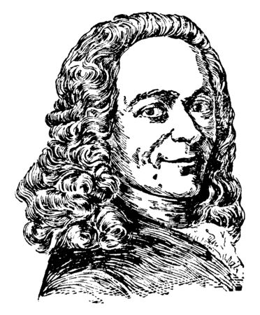 Voltaire (Francois Marie Abouet), 1694-1778, he was a French Enlightenment writer, historian, and philosopher, vintage line drawing or engraving illustration