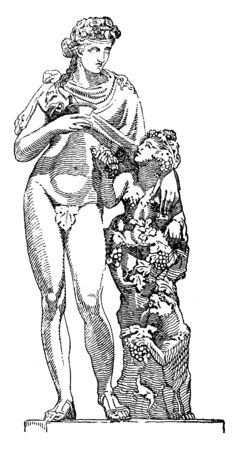 In this picture shown the Dionysus & Vine . Dionysus is the god of the grape harvest, winemaking and wine, of ritual madness, theatre and religious ecstasy in ancient Greek religion and myth, vintage line drawing or engraving illustration. Illustration