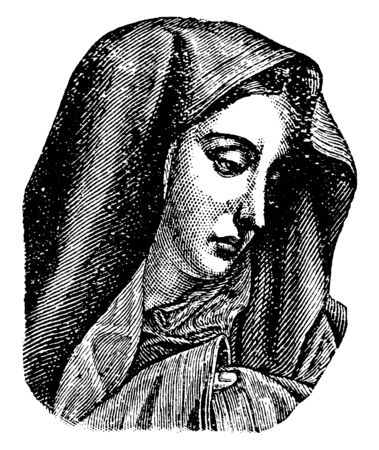 Virgin Mary, she was a first-century BC Galilean Jewish woman of Nazareth, and the mother of Jesus, vintage line drawing or engraving illustration 일러스트