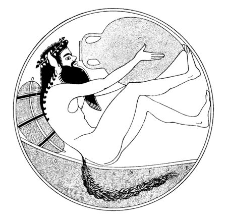 In this frame a man is sitting in a circular cave, he looks like a wild animal. He has an ear bigger than a beasts tail. Drinking water from the pots near him, vintage line drawing or engraving illustration. Ilustração