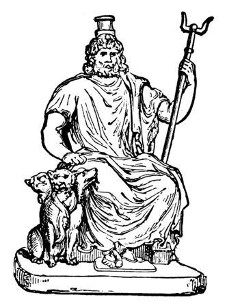 Una antigua estatua del dios griego del inframundo Hades, también conocido como Plutón con Cerberus, línea vintage de dibujo o ilustración de grabado.