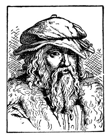 Georg Rollenhagen, 1542-1609, he was a German writer, playwright, educator and preacher, vintage line drawing or engraving illustration