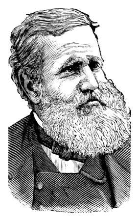 Dom Pedro II, 1825-1891, er war Kaiser von Brasilien, Vintage-Linienzeichnung oder Gravurillustration