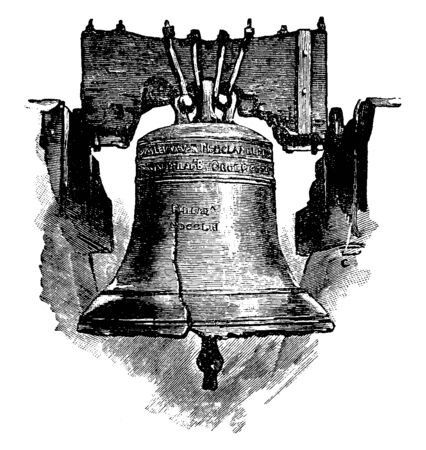 The image depicts the Liberty Bell, which is an iconic symbol of American independence, located in Philadelphia, Pennsylvania, vintage line drawing or engraving illustration.