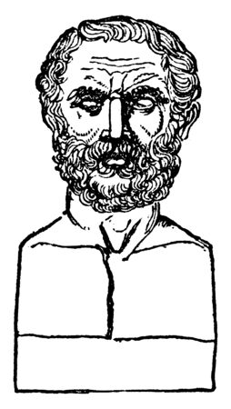 Bust of Thucydides, he was an Athenian historian and general, vintage line drawing or engraving illustration