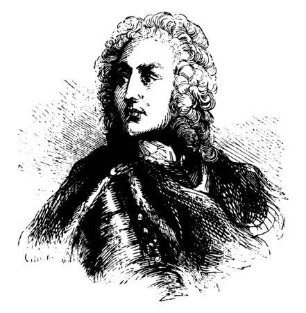 General James Edward Oglethorpe, 1696-1785, he was a British soldier, Member of Parliament, philanthropist, and governor of Georgia, vintage line drawing or engraving illustration 向量圖像