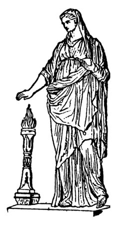 An ancient picture of the Priestess of Roman Goddess Vesta, Known as Vestal Virgin, vintage line drawing or engraving illustration. Ilustração