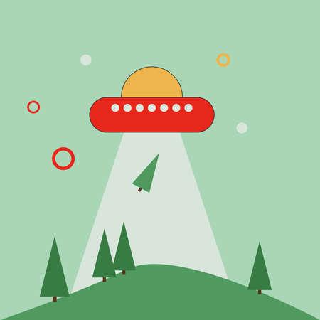 Aliens on earth, illustration, vector on white background. Stock fotó - 152546427