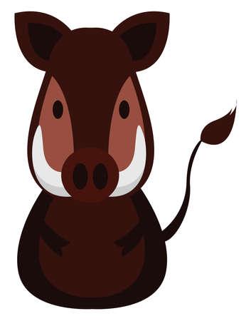 Wild boar, illustration, vector on white background.