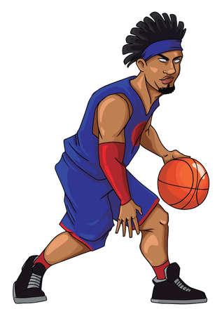 Basketball player dribbling, illustration, vector on white background.